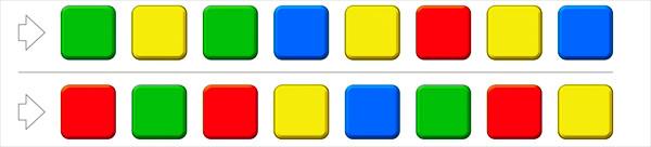 大人の脳トレ問題3:左から、できるかぎり速く、四角の色を声に出していってください。