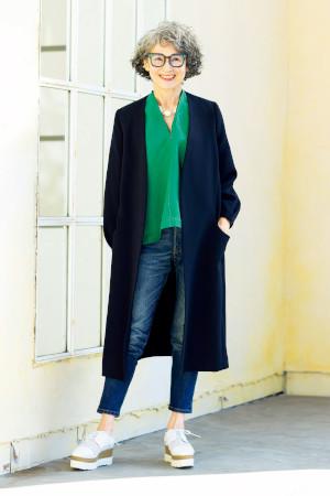 70代女性のファッションコーディネート:安久井千穂子さん(72歳)