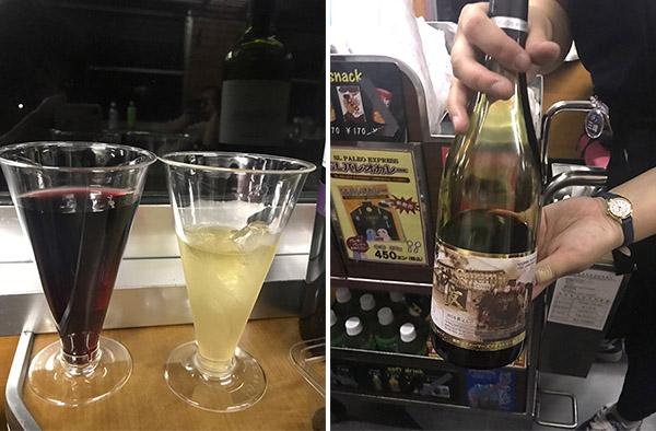 赤ワイン(左)と日本酒ロック(右))(6-2写真・SLのラベルの秩父ルージュ
