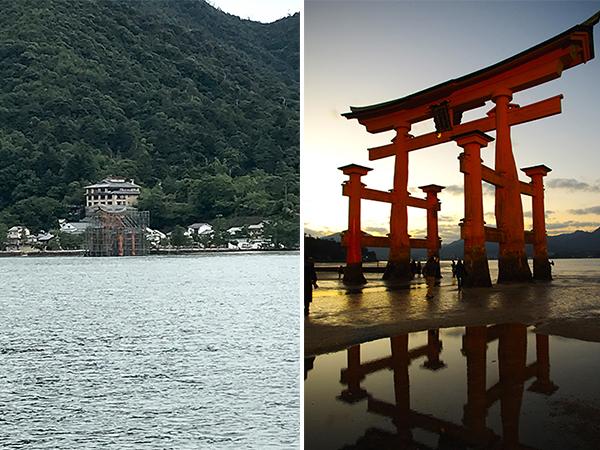 (左)足場がかけられた厳島神社の大鳥居(右)1年ちょっと前の大鳥居