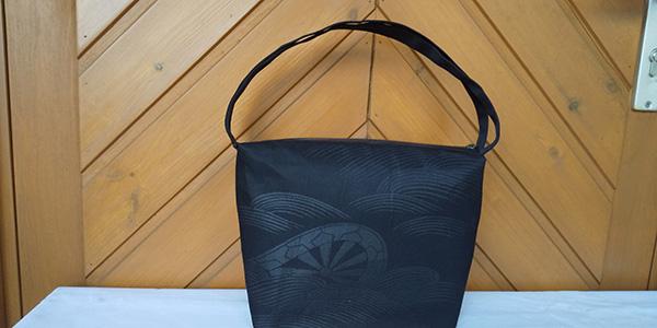 黒い帯でフォーマルバッグを作る