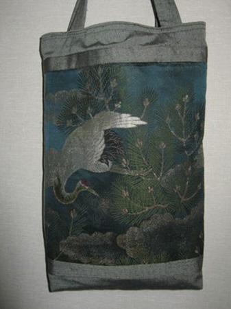 丸帯から作った手提げ袋は母へ