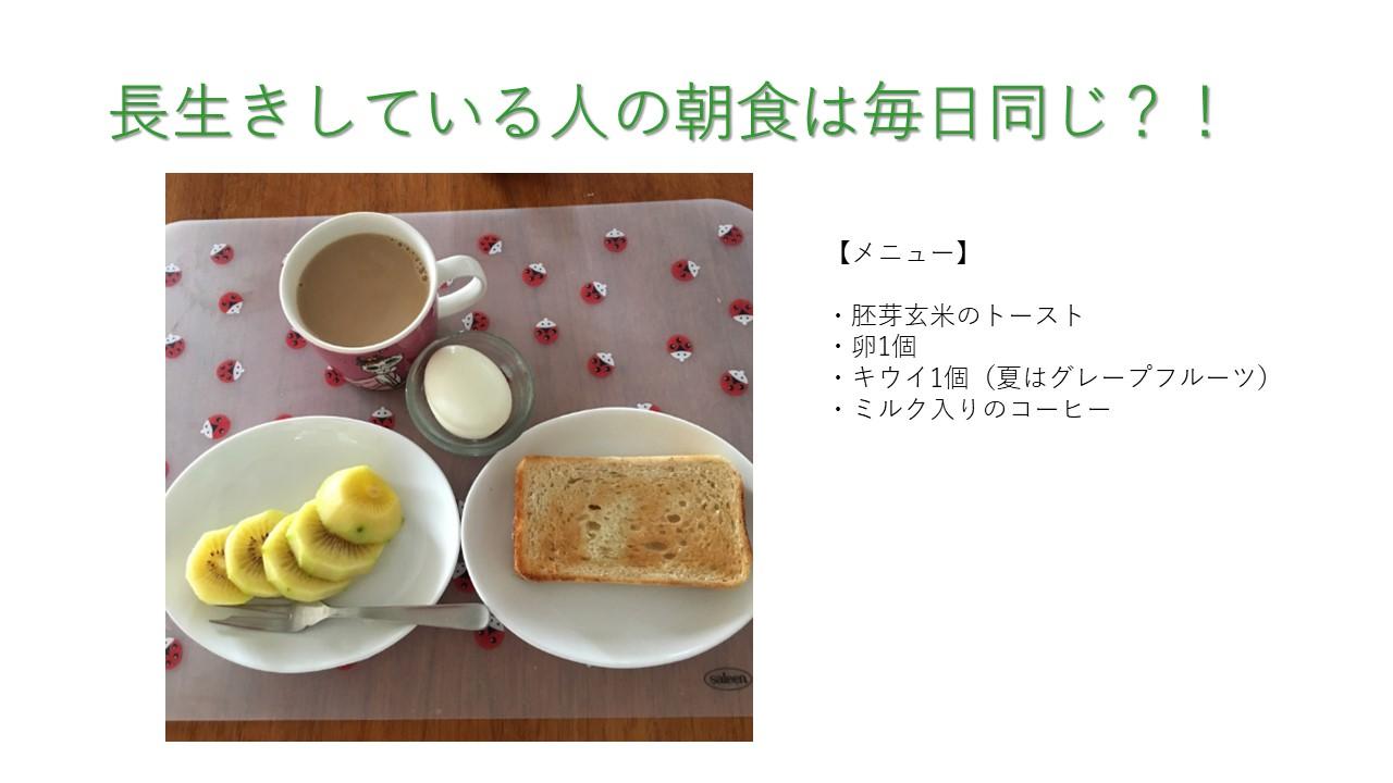 長寿の人の朝食
