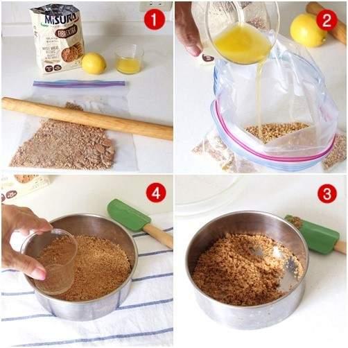 ゼラチンを使わないレアチーズケーキの土台作り