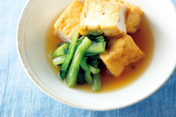 冷凍小松菜と厚揚げの煮物