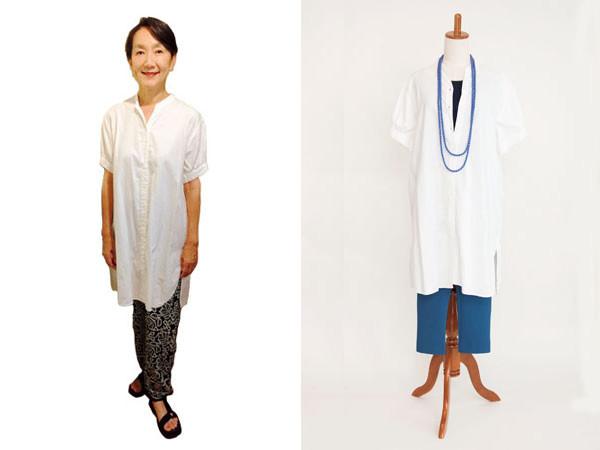 着回しポイント2:シンプルな服は色でメリハリをつける