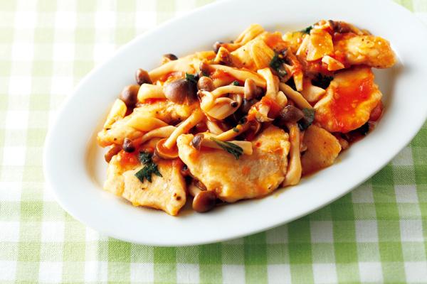 チキンと冷凍キノコのトマト煮込み