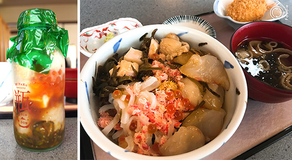 (左)魚彩亭 すみよしの瓶ドン(右)瓶ドンをご飯にかけたところ