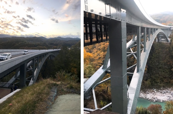 (左)天竜峡大橋(右)黒い網の部分がそらさんぽ天竜峡