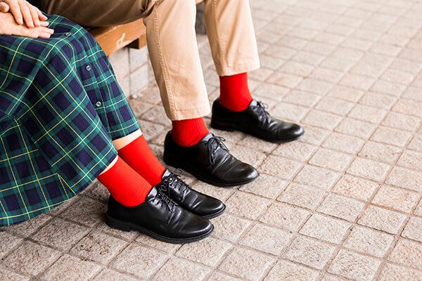 靴下の色など、さりげない部分で「リンクコーデ」を楽しむのもbonponさん流