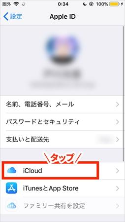 (2)Apple IDが表示され、ログインできていることを確認したら「iCloud」をタップしま す。