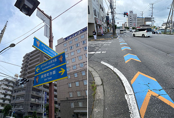 左/さてスタート 右/阿見町方面に向かっていく