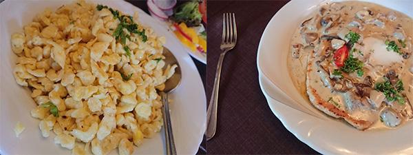 南バイエルンの郷土料理「シュペッツレ」(左)は炒り卵のような味。右は定番の豚肉料理「シュニッツェル」