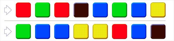 大人の脳トレ問題1:左から、四角の色を声に出していってください。