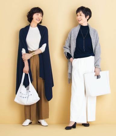 50代ファッションのお手本:紺を使った3色コーデ