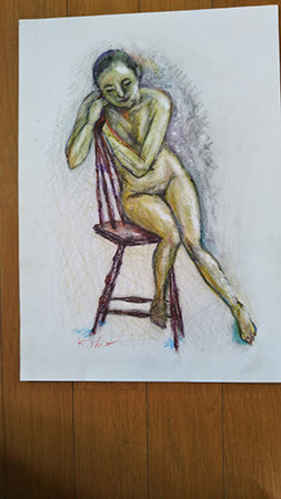 クレパスで描いた「裸婦」