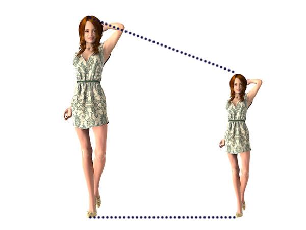 「高身長でスタイル良好な人物をそのまま縮小するならば、低身長でもスタイル良好なはず」という図