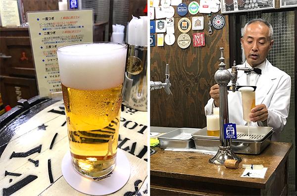 (左)1度つぎの1杯目。泡もビールも美しい(右)ダンディな重富さん